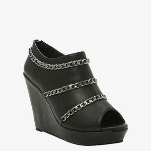Torrid ; chain link peep toe wedge booties